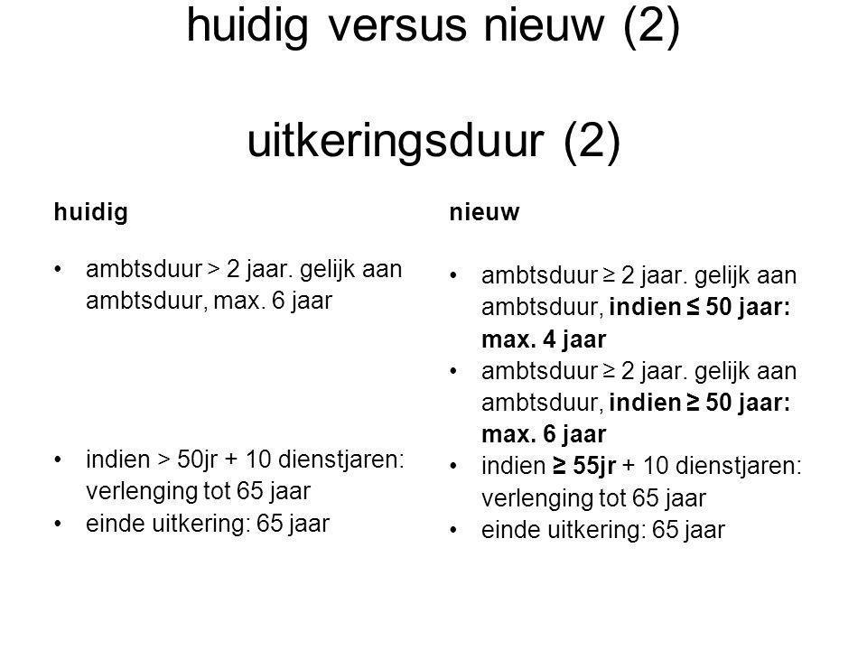 huidig versus nieuw (2) uitkeringsduur (2) huidig •ambtsduur > 2 jaar.