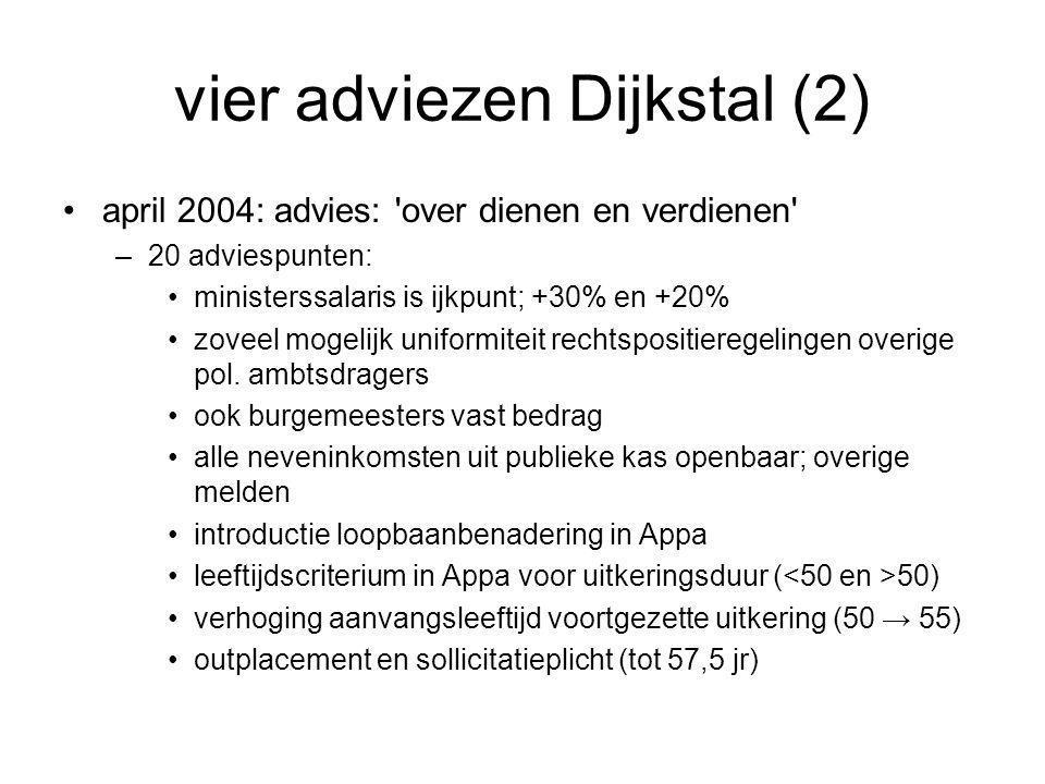 vier adviezen Dijkstal (2) •april 2004: advies: over dienen en verdienen –20 adviespunten: •ministerssalaris is ijkpunt; +30% en +20% •zoveel mogelijk uniformiteit rechtspositieregelingen overige pol.