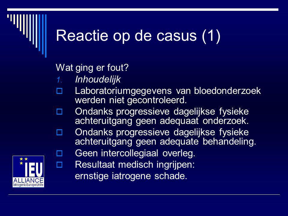 Reactie op de casus (1) Wat ging er fout.1.
