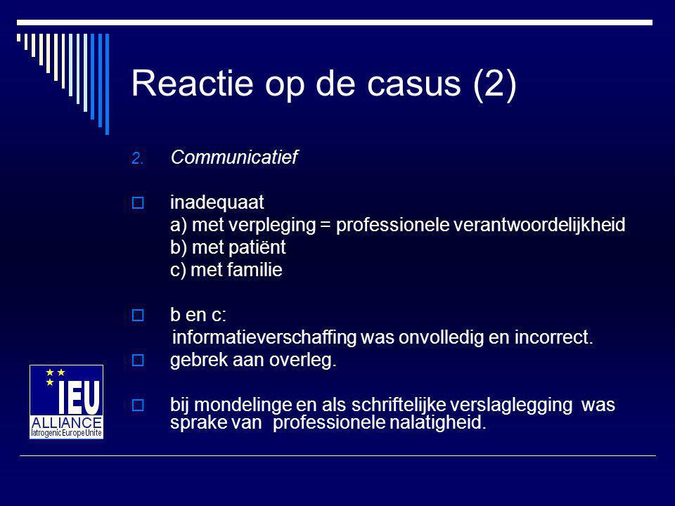 Reactie op casus (3) 3.Juridisch  Artsen voldeden niet aan informatieplicht op basis van WGBO.