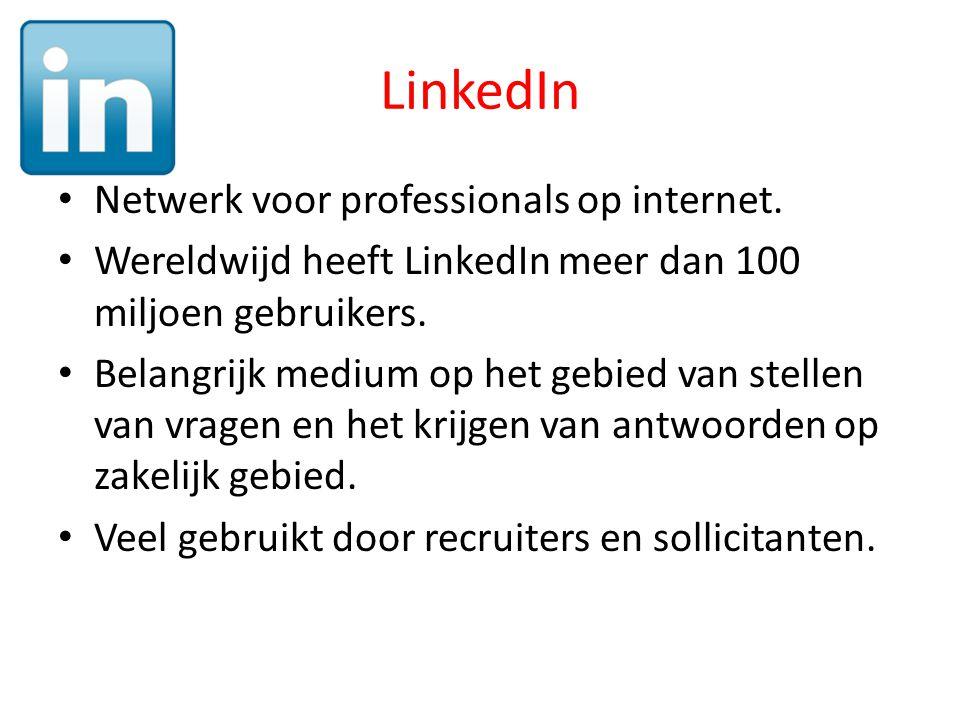LinkedIn • Netwerk voor professionals op internet.