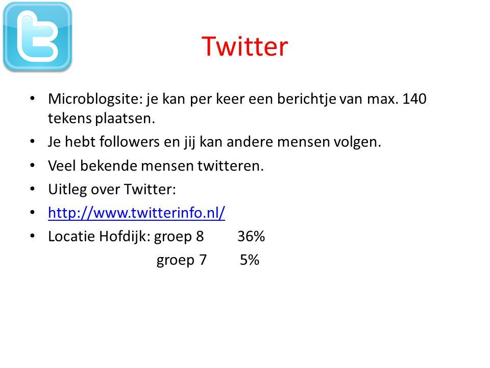 Twitter • Microblogsite: je kan per keer een berichtje van max.