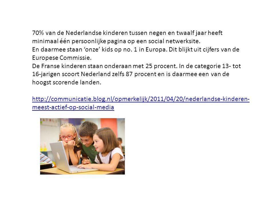70% van de Nederlandse kinderen tussen negen en twaalf jaar heeft minimaal één persoonlijke pagina op een social netwerksite.