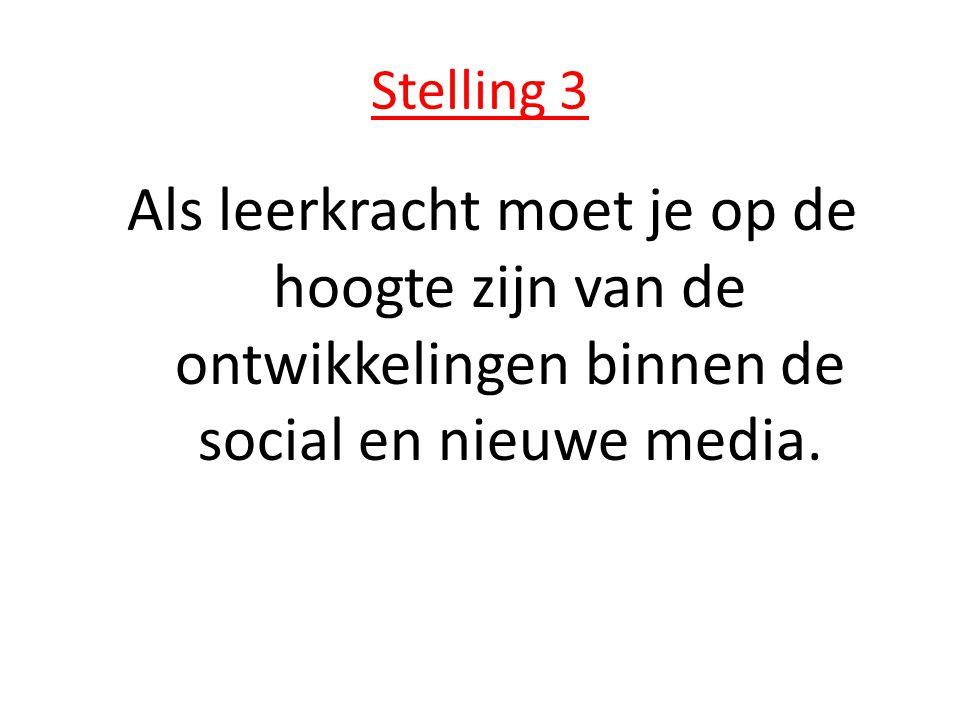 Stelling 3 Als leerkracht moet je op de hoogte zijn van de ontwikkelingen binnen de social en nieuwe media.
