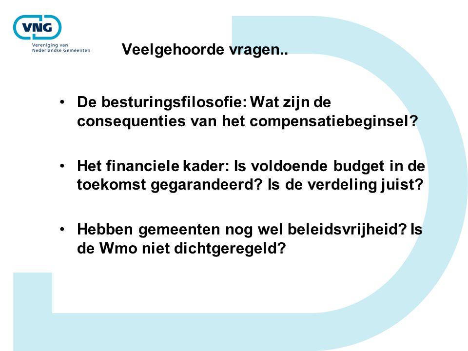 Veelgehoorde vragen.. •De besturingsfilosofie: Wat zijn de consequenties van het compensatiebeginsel? •Het financiele kader: Is voldoende budget in de