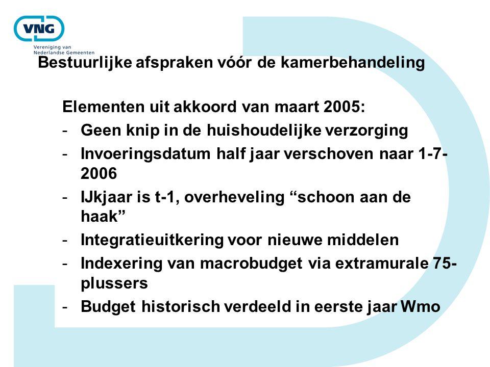 Bestuurlijke afspraken vóór de kamerbehandeling Elementen uit akkoord van maart 2005: -Geen knip in de huishoudelijke verzorging -Invoeringsdatum half