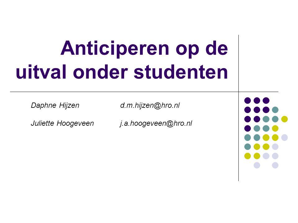 Anticiperen op de uitval onder studenten Daphne Hijzen d.m.hijzen@hro.nl Juliette Hoogeveen j.a.hoogeveen@hro.nl