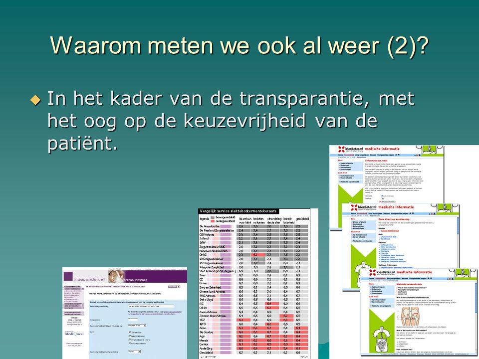 Waarom meten we ook al weer (2)?  In het kader van de transparantie, met het oog op de keuzevrijheid van de patiënt.