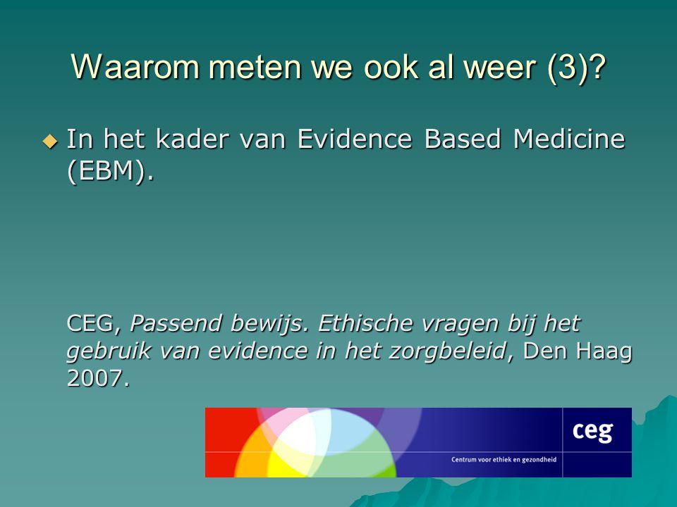 Waarom meten we ook al weer (3)?  In het kader van Evidence Based Medicine (EBM). CEG, Passend bewijs. Ethische vragen bij het gebruik van evidence i