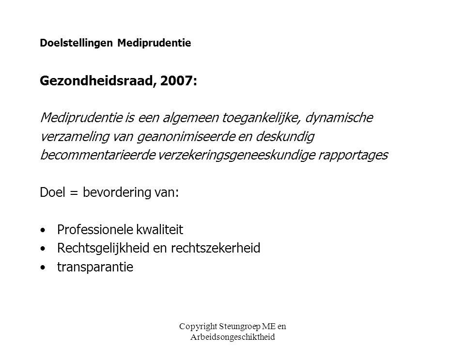 Copyright Steungroep ME en Arbeidsongeschiktheid Doelstellingen Mediprudentie Gezondheidsraad, 2007: Mediprudentie is een algemeen toegankelijke, dyna