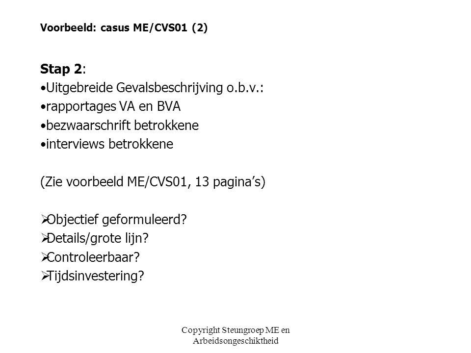 Voorbeeld: casus ME/CVS01 (2) Stap 2: •Uitgebreide Gevalsbeschrijving o.b.v.: •rapportages VA en BVA •bezwaarschrift betrokkene •interviews betrokkene
