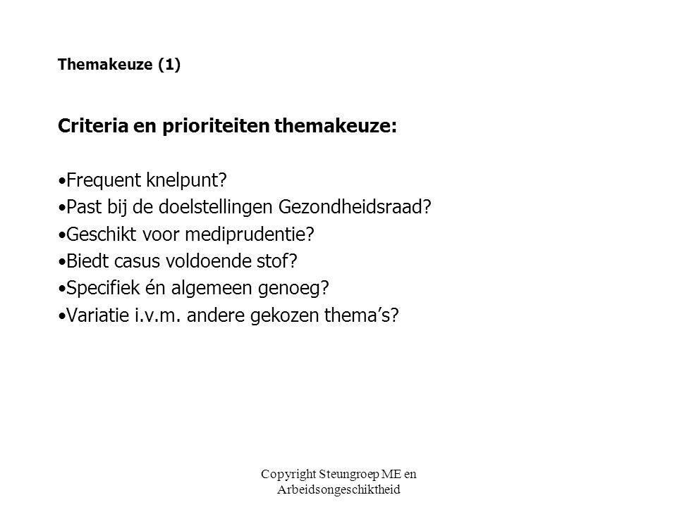 Themakeuze (1) Criteria en prioriteiten themakeuze: •Frequent knelpunt? •Past bij de doelstellingen Gezondheidsraad? •Geschikt voor mediprudentie? •Bi
