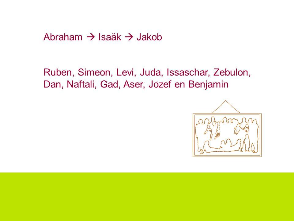 Abraham  Isaäk  Jakob Ruben, Simeon, Levi, Juda, Issaschar, Zebulon, Dan, Naftali, Gad, Aser, Jozef en Benjamin