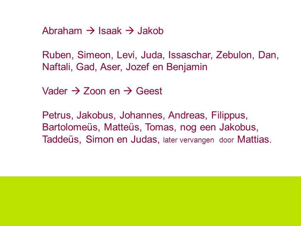 Abraham  Isaak  Jakob Ruben, Simeon, Levi, Juda, Issaschar, Zebulon, Dan, Naftali, Gad, Aser, Jozef en Benjamin Vader  Zoon en  Geest Petrus, Jako