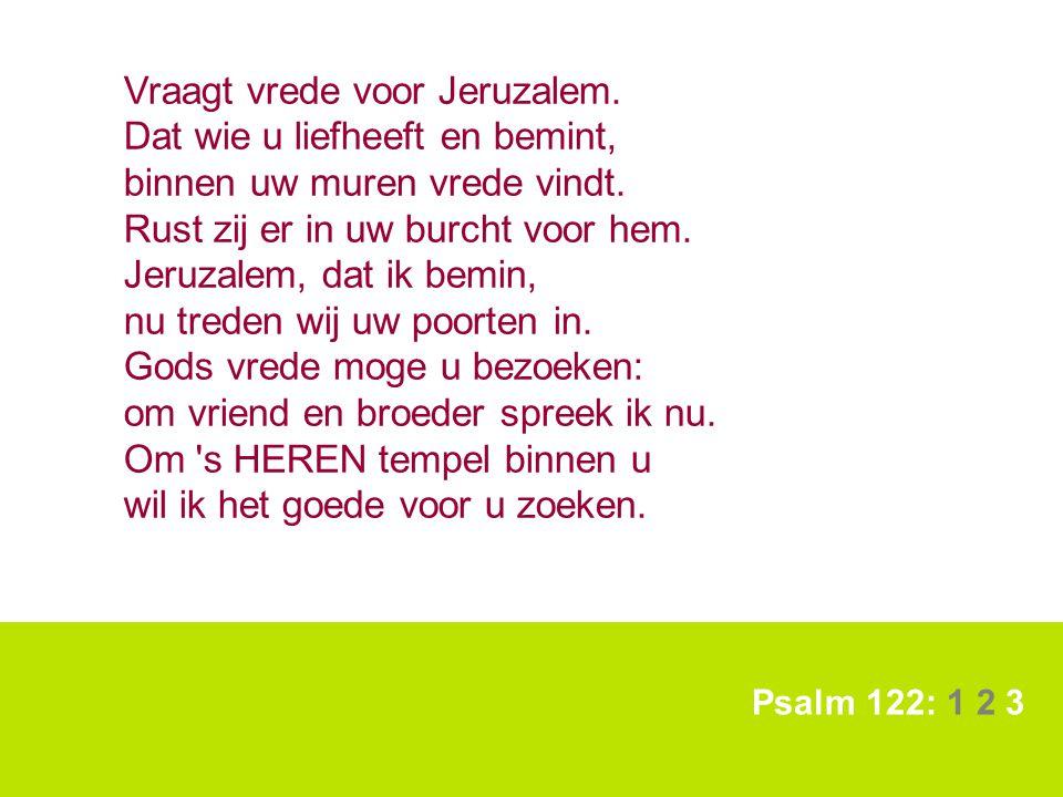 Psalm 122: 1 2 3 Vraagt vrede voor Jeruzalem. Dat wie u liefheeft en bemint, binnen uw muren vrede vindt. Rust zij er in uw burcht voor hem. Jeruzalem
