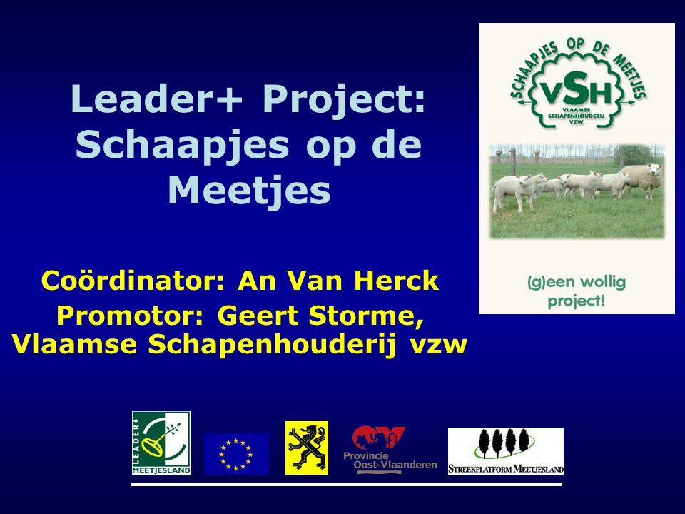 Leader+ Project: Schaapjes op de Meetjes Coördinator: An Van Herck Promotor: Geert Storme, Vlaamse Schapenhouderij vzw