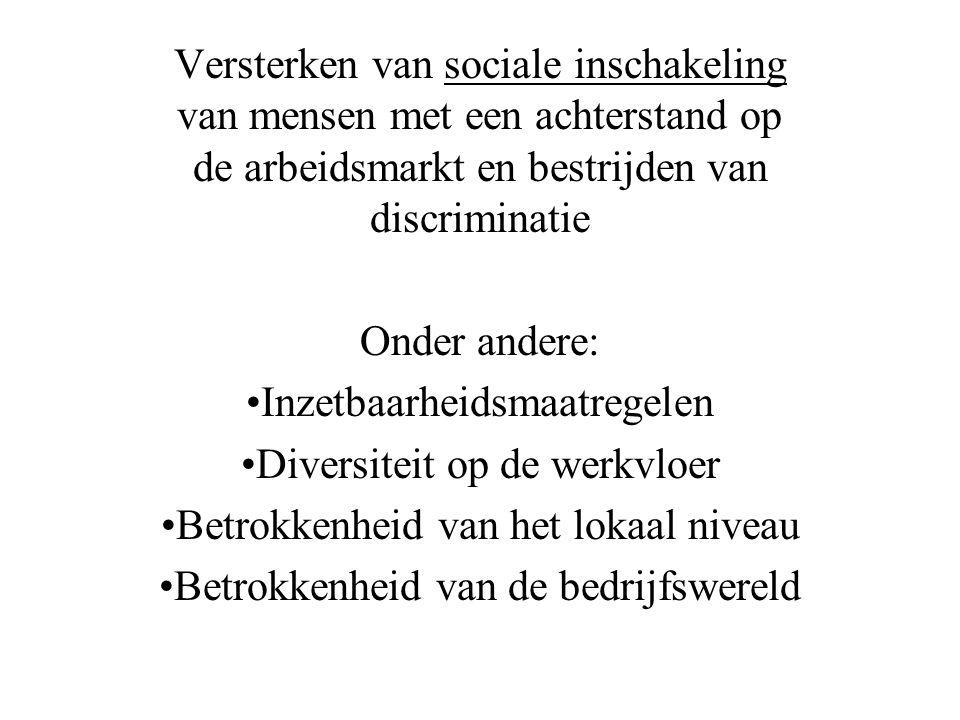 Versterken van sociale inschakeling van mensen met een achterstand op de arbeidsmarkt en bestrijden van discriminatie Onder andere: •Inzetbaarheidsmaatregelen •Diversiteit op de werkvloer •Betrokkenheid van het lokaal niveau •Betrokkenheid van de bedrijfswereld