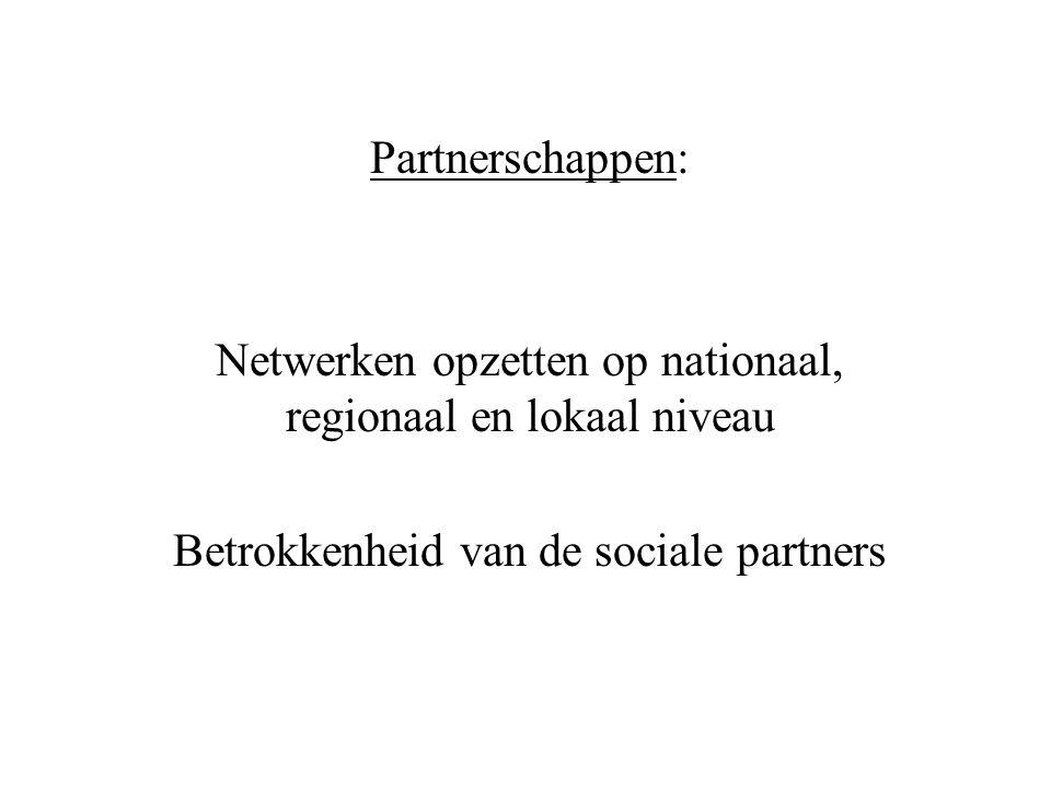 Partnerschappen: Netwerken opzetten op nationaal, regionaal en lokaal niveau Betrokkenheid van de sociale partners