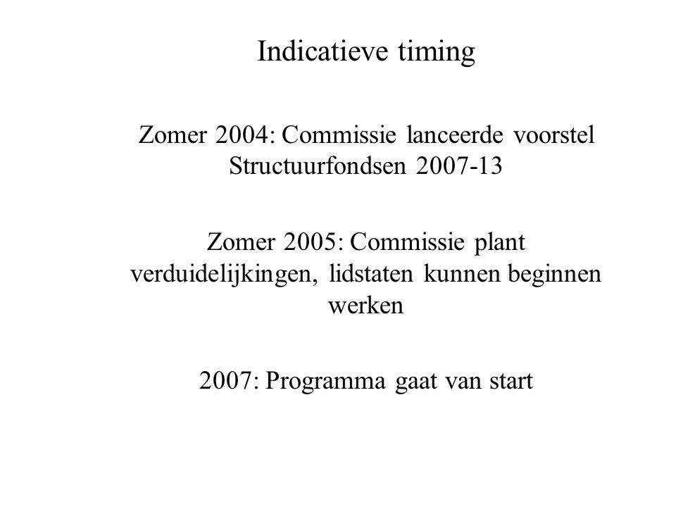Indicatieve timing Zomer 2004: Commissie lanceerde voorstel Structuurfondsen 2007-13 Zomer 2005: Commissie plant verduidelijkingen, lidstaten kunnen beginnen werken 2007: Programma gaat van start