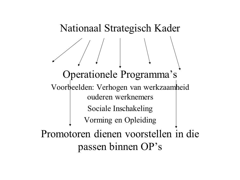 Nationaal Strategisch Kader Operationele Programma's Voorbeelden: Verhogen van werkzaamheid ouderen werknemers Sociale Inschakeling Vorming en Opleiding Promotoren dienen voorstellen in die passen binnen OP's