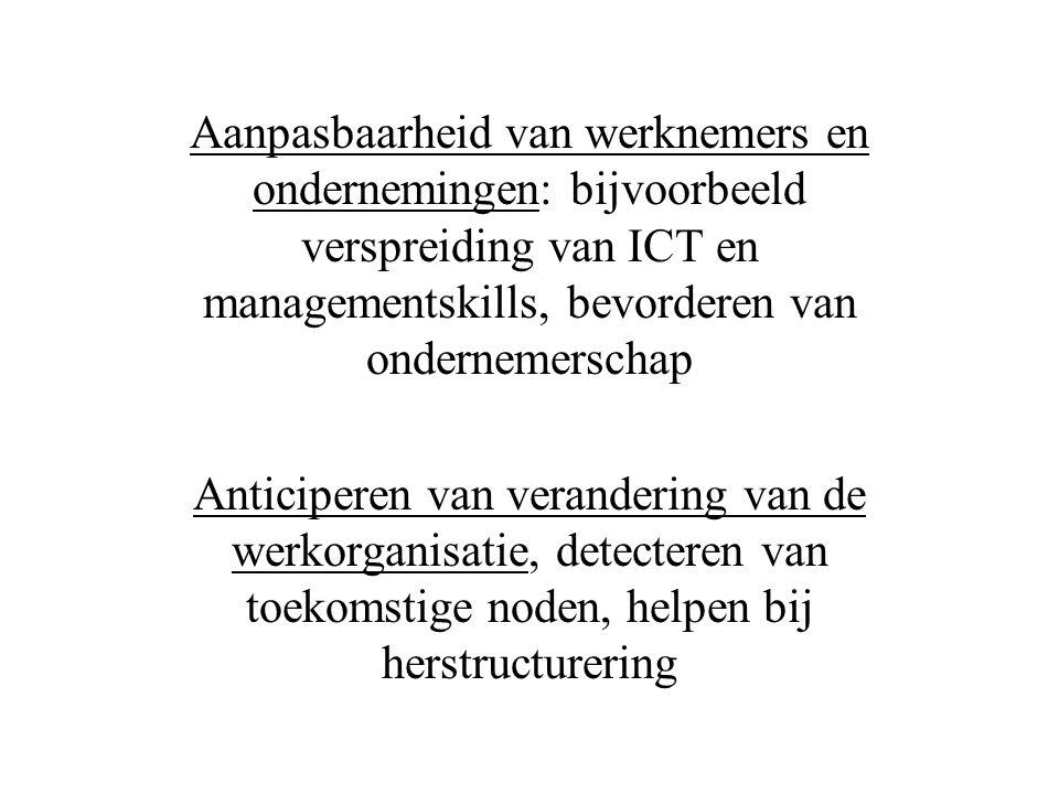 Aanpasbaarheid van werknemers en ondernemingen: bijvoorbeeld verspreiding van ICT en managementskills, bevorderen van ondernemerschap Anticiperen van verandering van de werkorganisatie, detecteren van toekomstige noden, helpen bij herstructurering