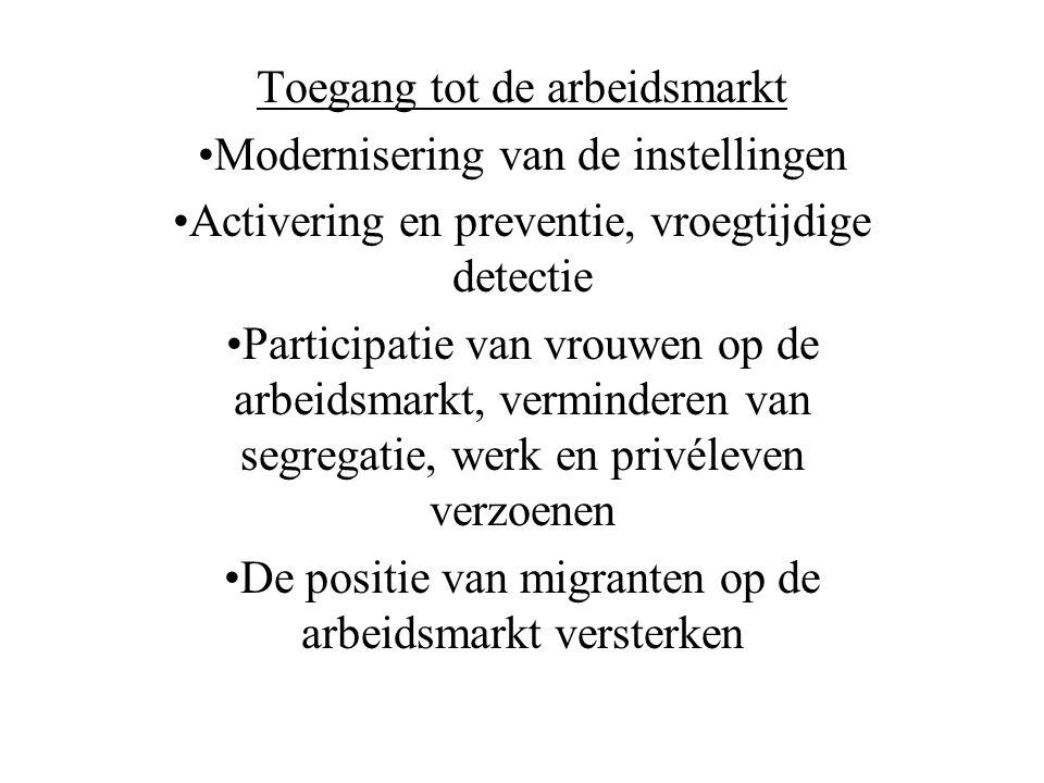 Toegang tot de arbeidsmarkt •Modernisering van de instellingen •Activering en preventie, vroegtijdige detectie •Participatie van vrouwen op de arbeidsmarkt, verminderen van segregatie, werk en privéleven verzoenen •De positie van migranten op de arbeidsmarkt versterken