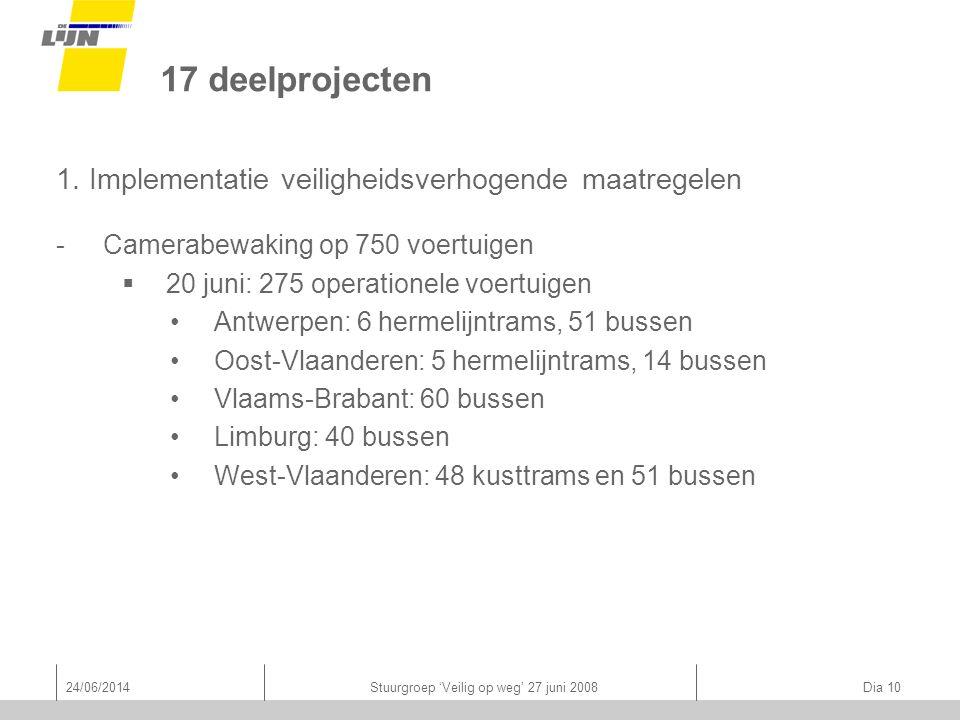 24/06/2014Stuurgroep 'Veilig op weg' 27 juni 2008 Dia 10 17 deelprojecten 1.