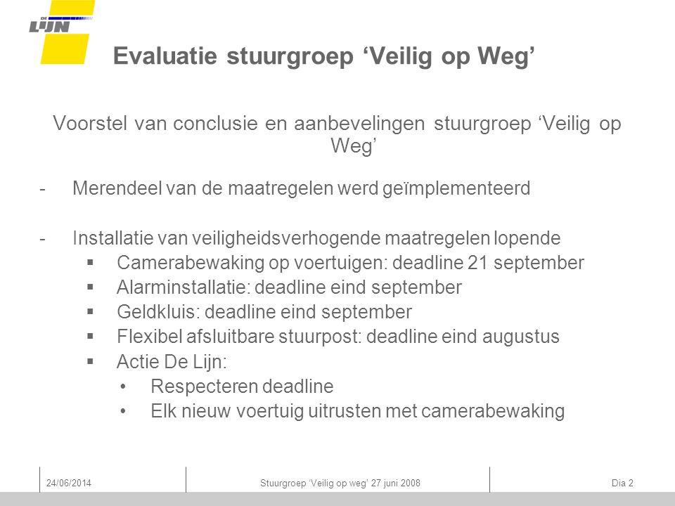24/06/2014Stuurgroep 'Veilig op weg' 27 juni 2008 Dia 2 Evaluatie stuurgroep 'Veilig op Weg' Voorstel van conclusie en aanbevelingen stuurgroep 'Veilig op Weg' -Merendeel van de maatregelen werd geïmplementeerd -Installatie van veiligheidsverhogende maatregelen lopende  Camerabewaking op voertuigen: deadline 21 september  Alarminstallatie: deadline eind september  Geldkluis: deadline eind september  Flexibel afsluitbare stuurpost: deadline eind augustus  Actie De Lijn: •Respecteren deadline •Elk nieuw voertuig uitrusten met camerabewaking