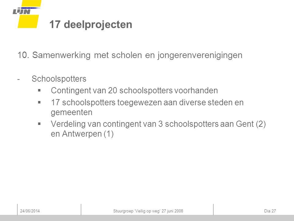24/06/2014Stuurgroep 'Veilig op weg' 27 juni 2008 Dia 27 17 deelprojecten 10.