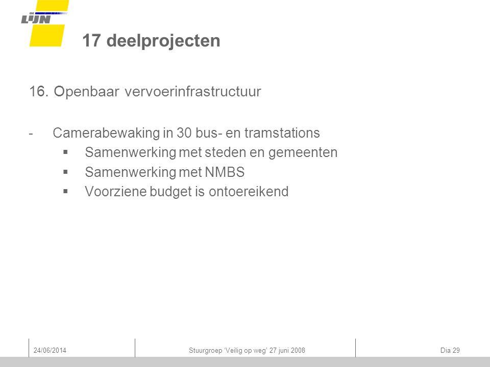 24/06/2014Stuurgroep 'Veilig op weg' 27 juni 2008 Dia 29 17 deelprojecten 16.