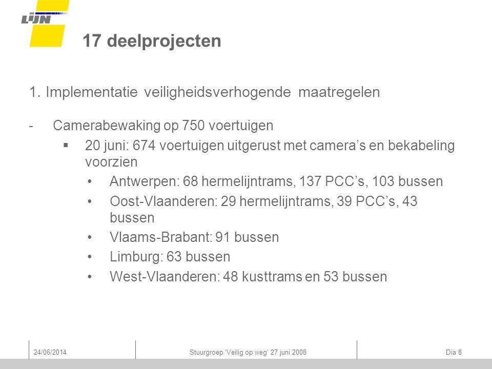 24/06/2014Stuurgroep 'Veilig op weg' 27 juni 2008 Dia 9 17 deelprojecten 1.