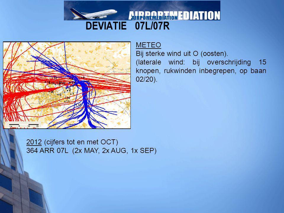 DEVIATIE 07L/07R METEO Bij sterke wind uit O (oosten). (laterale wind: bij overschrijding 15 knopen, rukwinden inbegrepen, op baan 02/20). 2012 (cijfe