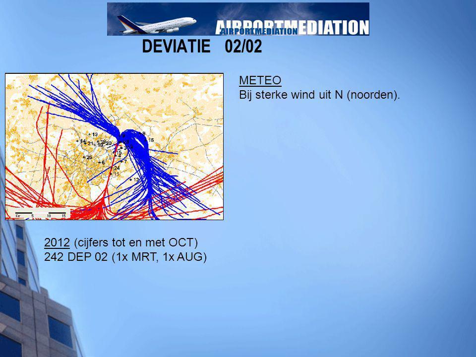 DEVIATIE 02/02 METEO Bij sterke wind uit N (noorden). 2012 (cijfers tot en met OCT) 242 DEP 02 (1x MRT, 1x AUG)