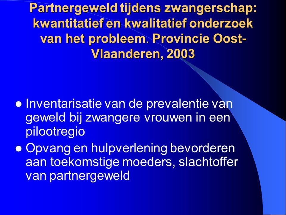 Partnergeweld tijdens zwangerschap: kwantitatief en kwalitatief onderzoek van het probleem.