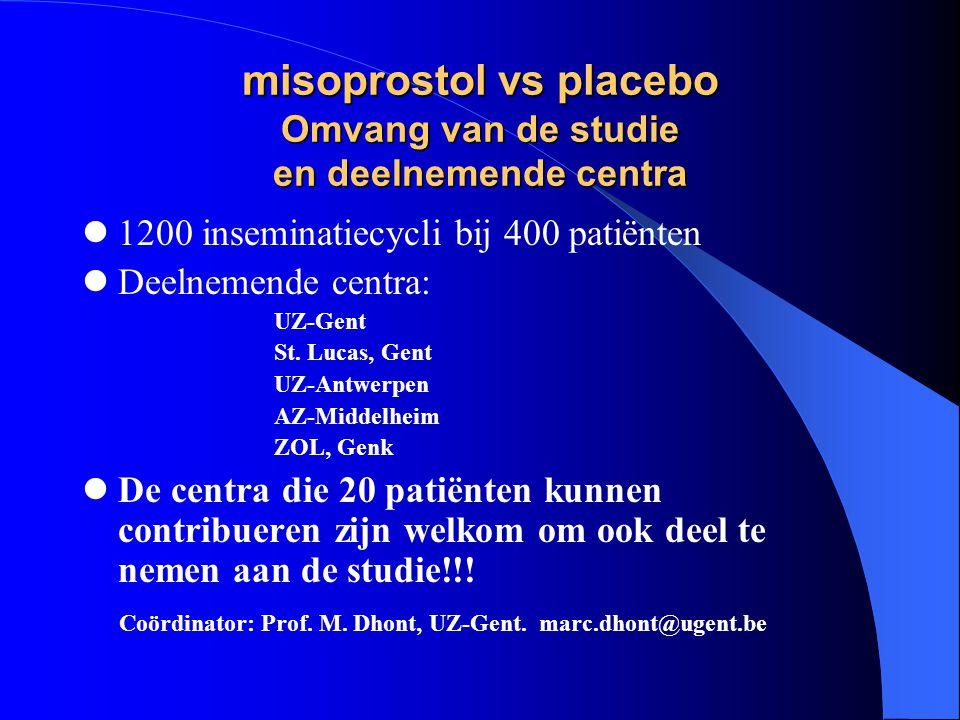 misoprostol vs placebo Omvang van de studie en deelnemende centra  1200 inseminatiecycli bij 400 patiënten  Deelnemende centra: UZ-Gent St.