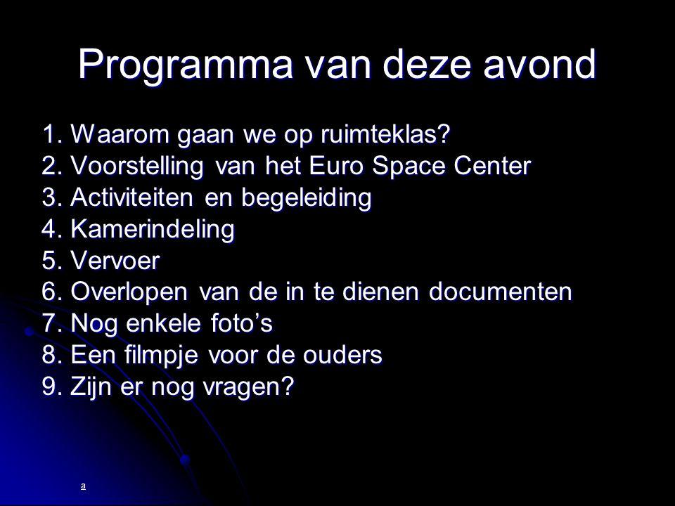  Begeleiders:  eigen leerkrachten  extra begeleiders  educatieve medewerkers van het Euro Space Center