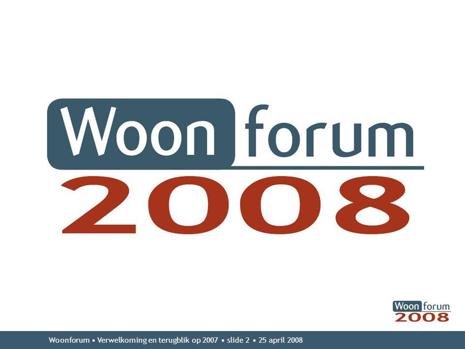 Woonforum • Verwelkoming en terugblik op 2007 • slide 2 • 25 april 2008 • Niveau 1 –Niveau 2 ·Niveau 3 –Niveau 4