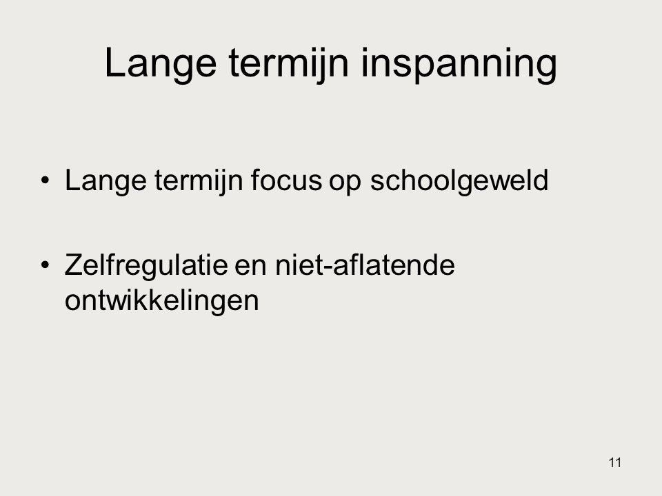 11 Lange termijn inspanning •Lange termijn focus op schoolgeweld •Zelfregulatie en niet-aflatende ontwikkelingen