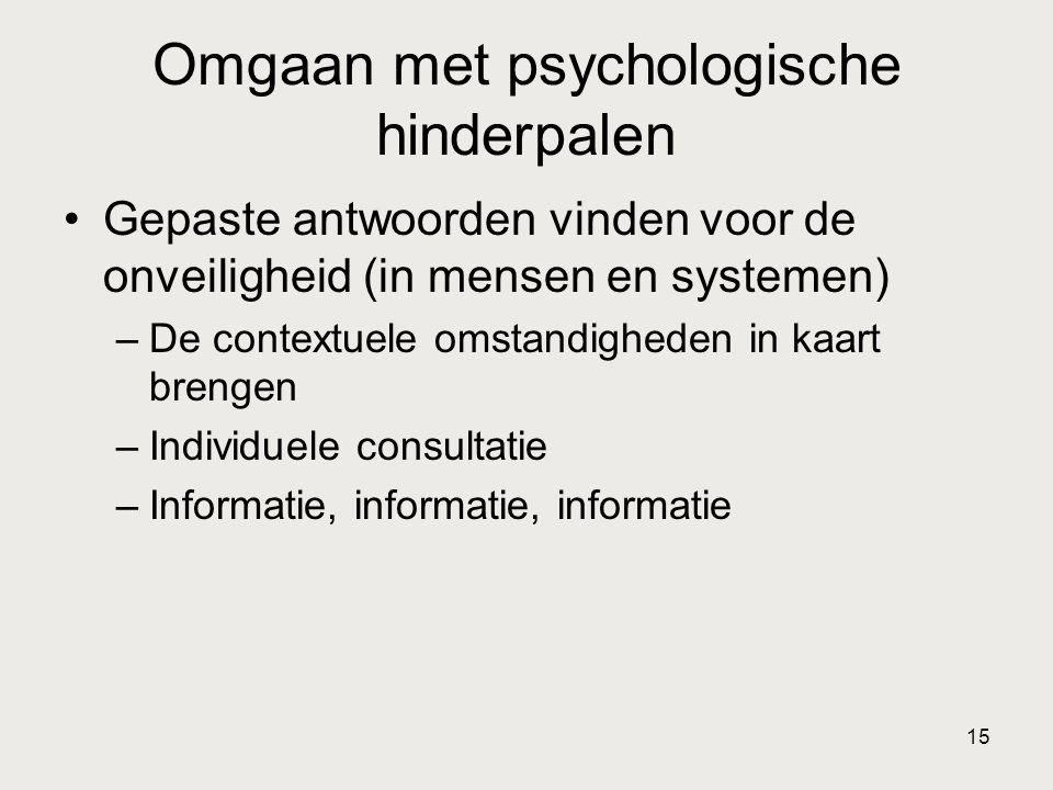 15 Omgaan met psychologische hinderpalen •Gepaste antwoorden vinden voor de onveiligheid (in mensen en systemen) –De contextuele omstandigheden in kaa