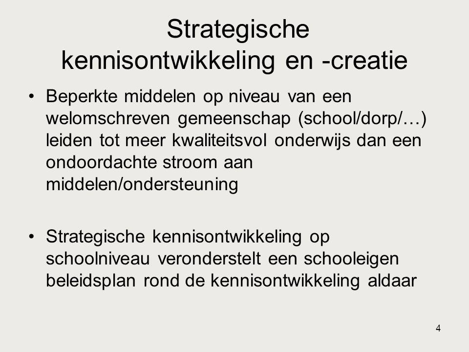 4 Strategische kennisontwikkeling en -creatie •Beperkte middelen op niveau van een welomschreven gemeenschap (school/dorp/…) leiden tot meer kwaliteit
