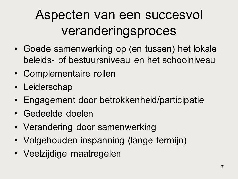 7 Aspecten van een succesvol veranderingsproces •Goede samenwerking op (en tussen) het lokale beleids- of bestuursniveau en het schoolniveau •Compleme