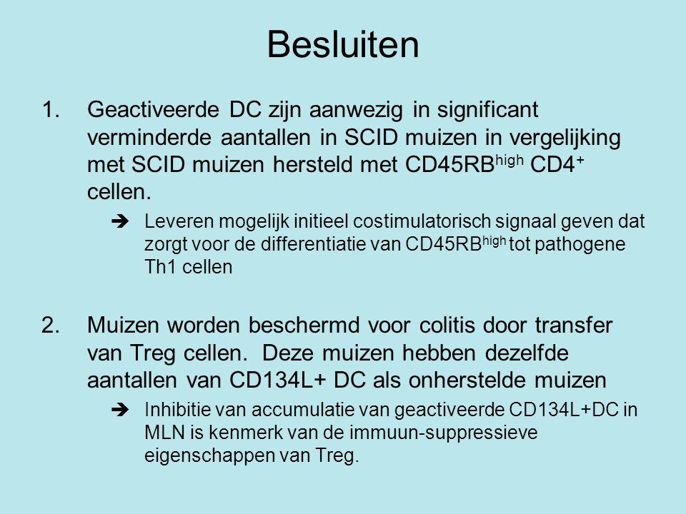 Besluiten 1.Geactiveerde DC zijn aanwezig in significant verminderde aantallen in SCID muizen in vergelijking met SCID muizen hersteld met CD45RB high CD4 + cellen.