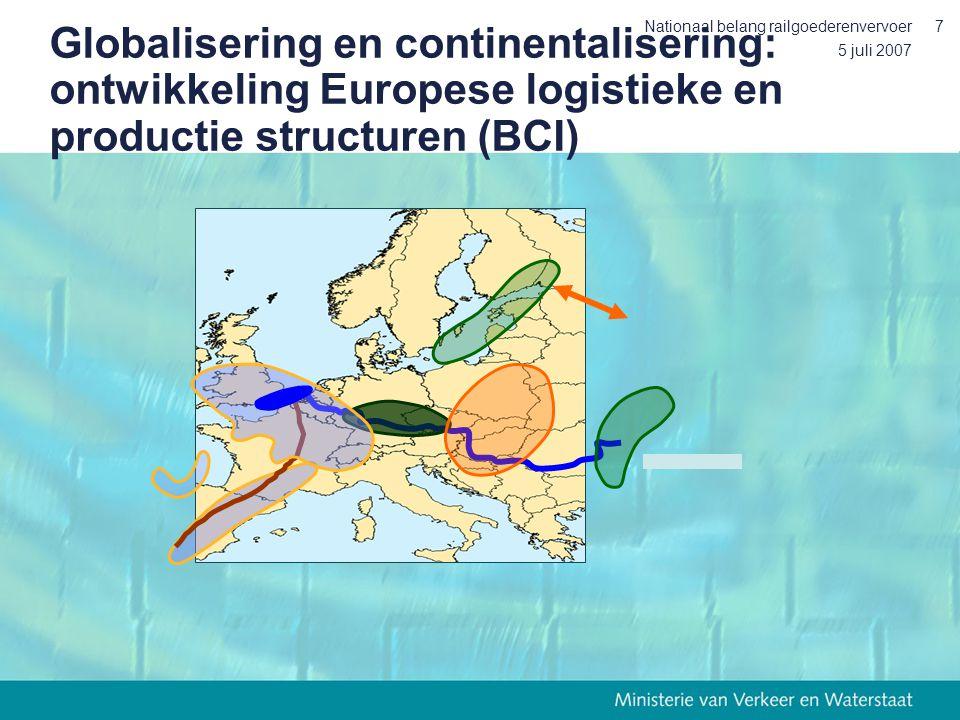 5 juli 2007 Nationaal belang railgoederenvervoer7 Globalisering en continentalisering: ontwikkeling Europese logistieke en productie structuren (BCI)