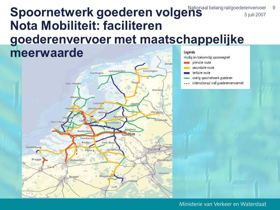 5 juli 2007 Nationaal belang railgoederenvervoer9 Spoornetwerk goederen volgens Nota Mobiliteit: faciliteren goederenvervoer met maatschappelijke meerwaarde