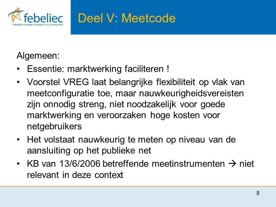 Deel V: Meetcode Algemeen: •Essentie: marktwerking faciliteren .