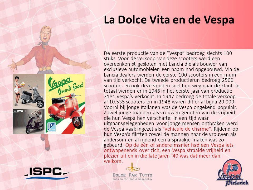 """De eerste productie van de """"Vespa"""" bedroeg slechts 100 stuks. Voor de verkoop van deze scooters werd een overeenkomst gesloten met Lancia die als bouw"""