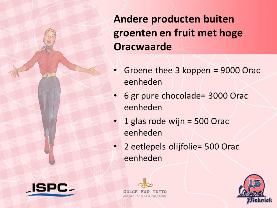 Andere producten buiten groenten en fruit met hoge Oracwaarde • Groene thee 3 koppen = 9000 Orac eenheden • 6 gr pure chocolade= 3000 Orac eenheden •