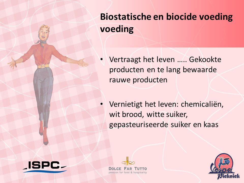 Biostatische en biocide voeding voeding • Vertraagt het leven ….. Gekookte producten en te lang bewaarde rauwe producten • Vernietigt het leven: chemi