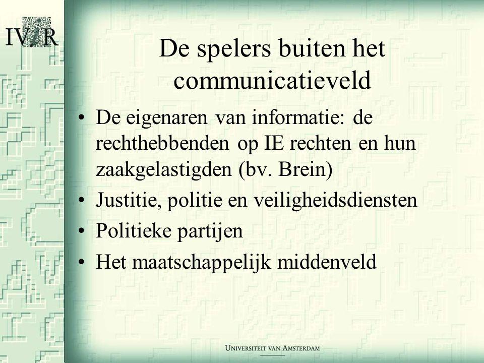 De spelers buiten het communicatieveld •De eigenaren van informatie: de rechthebbenden op IE rechten en hun zaakgelastigden (bv.