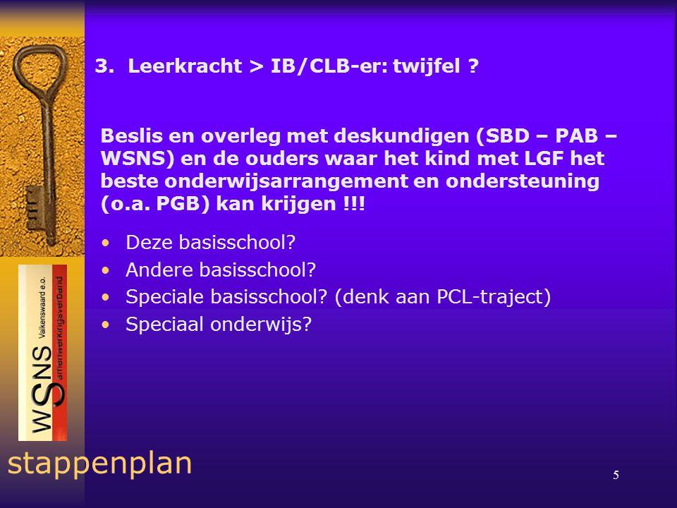 5 stappenplan 3. Leerkracht > IB/CLB-er: twijfel .